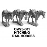 Three Hitching Rail Horses
