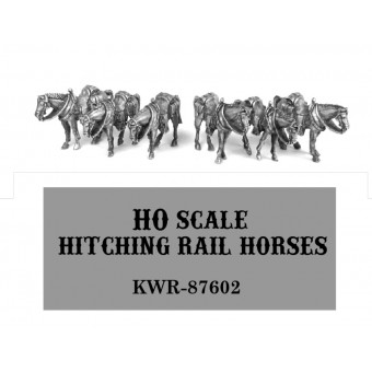HO Scale Hitching Rail Horses