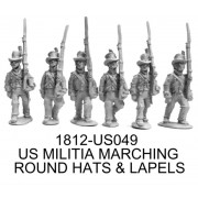 US MILITIA MARCHING, ROUND HATS & LAPELS