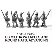 US MILITIA, ROUND HATS AND LAPELS, ADVANCING