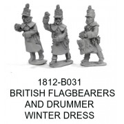 BRITISH FLAGBEARERS AND DRUMMER IN WINTER GEAR
